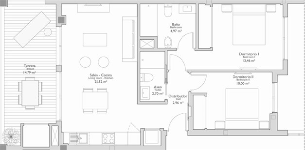 Exempel på planritning - 2 sovrum