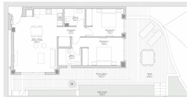 Exempel på planritning - 2 sovrum med terrass och trädgård