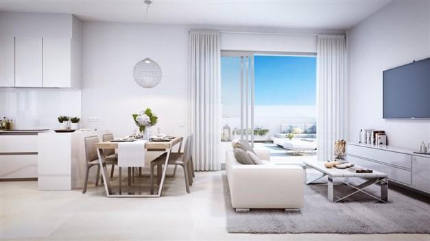 Illustrationsbild - Kök och vardagsrum i öppen planlösning