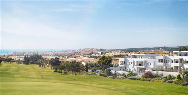 Illustrationsbild - Golfbanan som granne