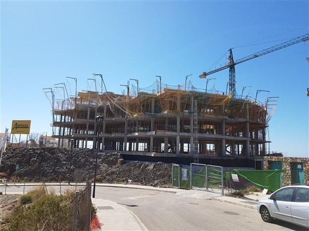 Byggnation pågår - byggnadens norra sida 2019-03-12