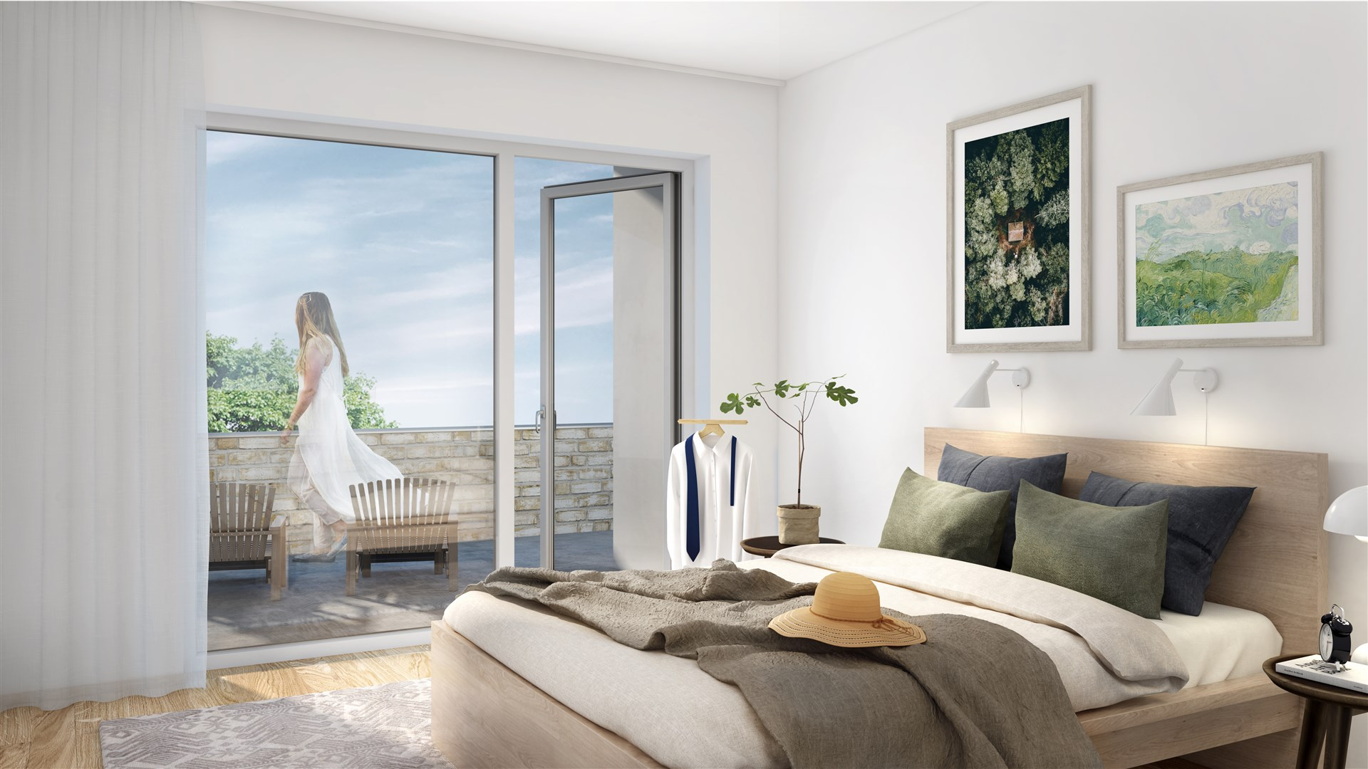 Illustration - sovrum, takvåning med terrass
