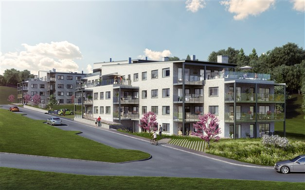 lllustrationsbild Täljö Strandäng. Hus 1 i förgrunden. Balkonger och terrasser med glasade räcken.