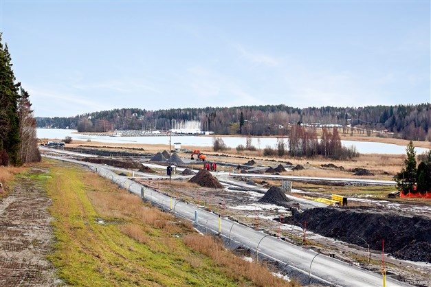 Pågående arbeten med områdets infrastruktur.