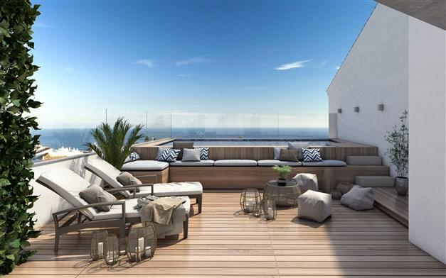 Illustrationsbild - gemensam takterrass med pool och loungemöbler
