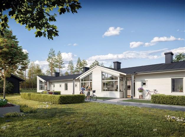 Tillgängligt och bekymmersfritt! Enplanshusen som står på rad är älskvärda tvåor och fyror om 55 respektive 87 kvm.