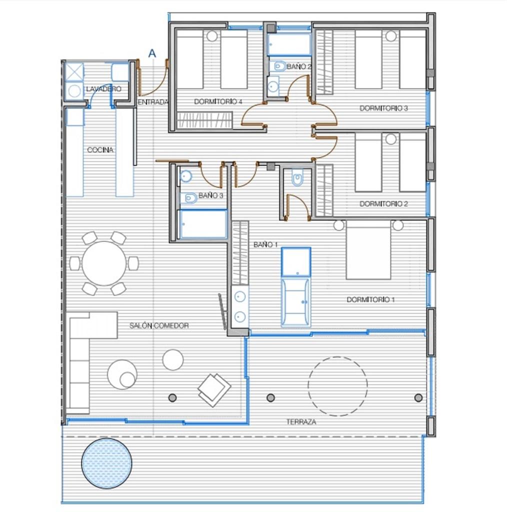Planlösning: 4 sovrum