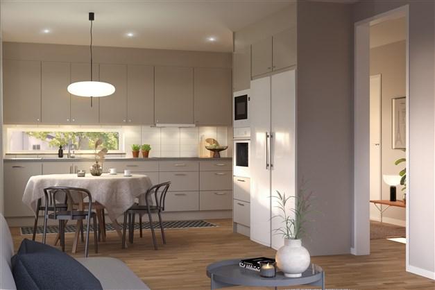 Radhus 1-plan kök och vardagsrum