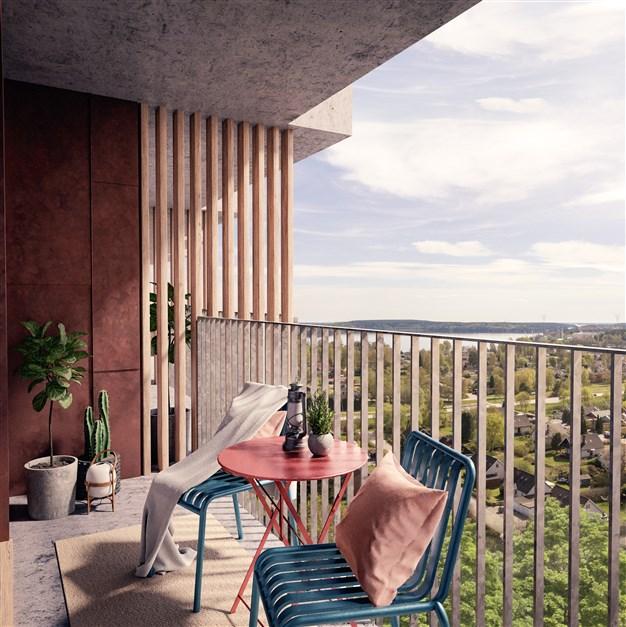 Illustrationsbild från en balkong i söder på 4 trappor