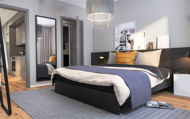 Illustrationsbild från ett sovrum