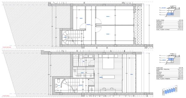 Planlösning - De två nedre våningsplanen