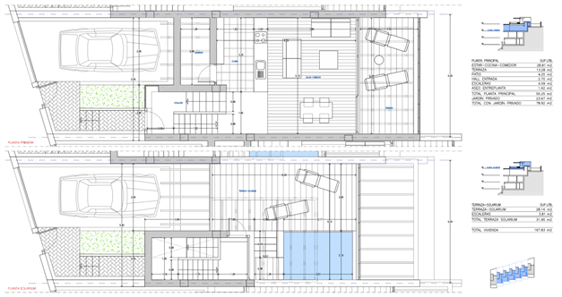 Planlösning - Entréplan och takterrassen