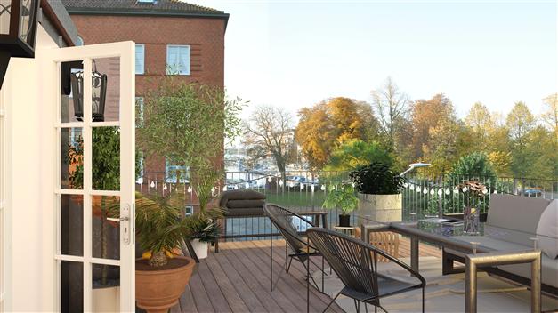 Pentahouse med terrass bjuder på vy över Slottsparken och hamninloppet i Nyhamn (lgh 5)