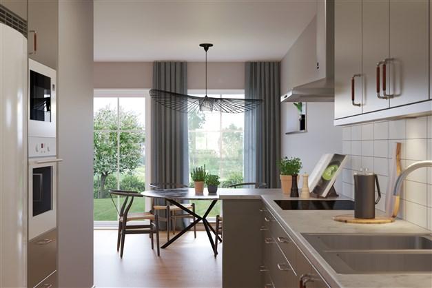 Kök och matplats i radhus i två plan