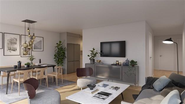 Kök och vardagsrum i en de mindre tvårumslägenheterna