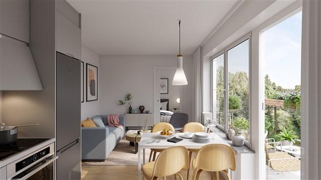 Kök och vardagsrum i en av tvårumslägenheterna