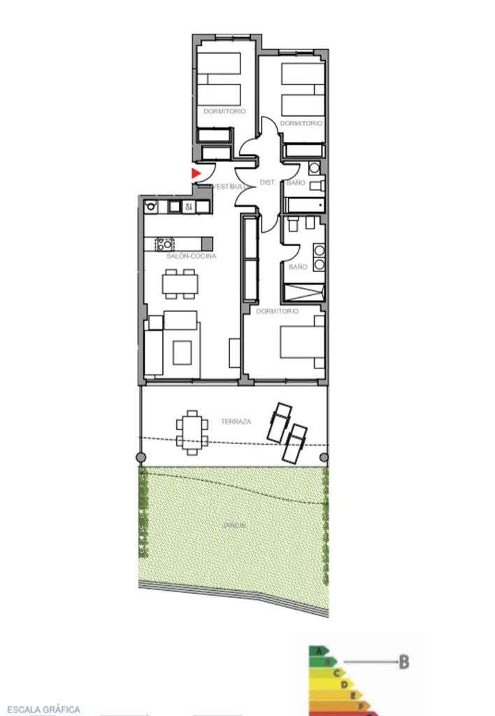 Våning 2: Exempel på planritning, 3  sovrum med terrass och trädgård.  Ytterligare planritningar finns tillgängliga, kontakta gärna oss för mer information.