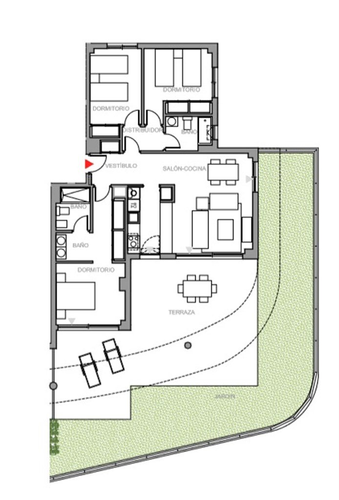 Entréplan: Exempel på planritning, 3  sovrum med terrass och trädgård.  Ytterligare planritningar finns tillgängliga, kontakta gärna oss för mer information.