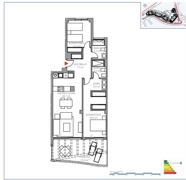 Våning 2: Exempel på planritning, 3 sovrum, med terrass.  Ytterligare planritningar finns tillgängliga, kontakta gärna oss för mer information.