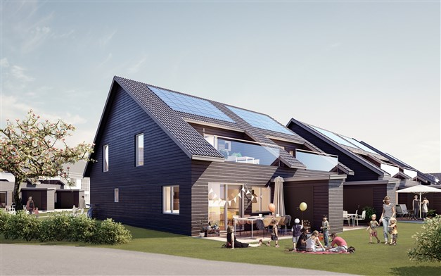 Trivsamma och stilrena parhus i dansk design med solceller på taken.