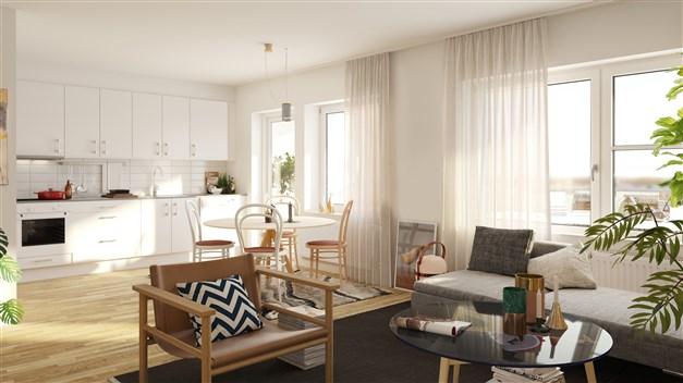 Lägenheternas interiör kommer ha ljus och luftig känsla med god standard.