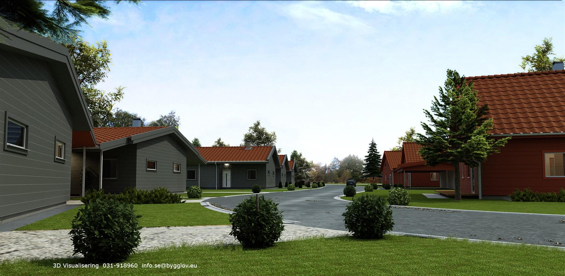Till höger, Bostadsrätter i gråa parhus på 123m² i sutterrängstil. Till vänster ser vi de röda parhusen med 86m²-lägenheter med oinredd vind.