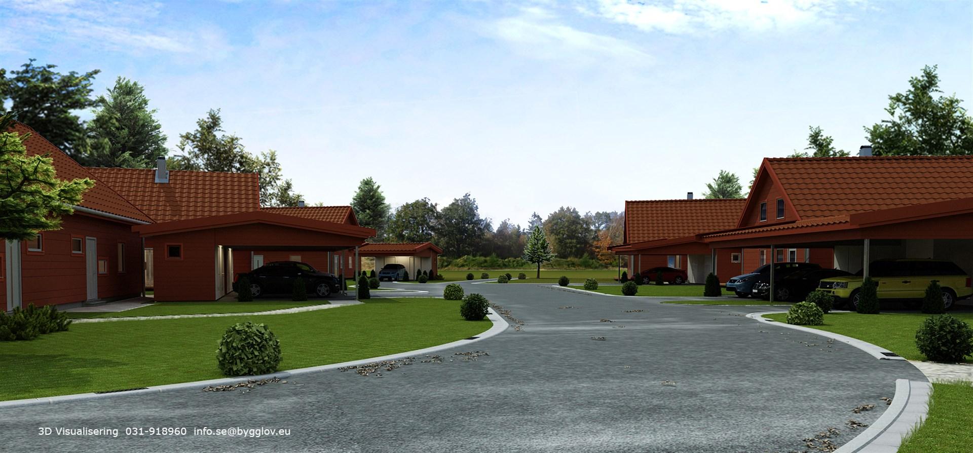 Carportar tillhörande bostadsrätterna på 86m².