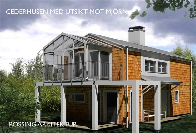 Husets fasad kläs med cederträspån i naturligt vackra, varierande färger.  Obehandlad cederpanel får med tiden en silvergrå patina.