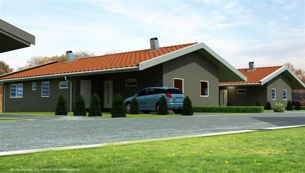 De två husen på Bingevägen sett från Bingevägen