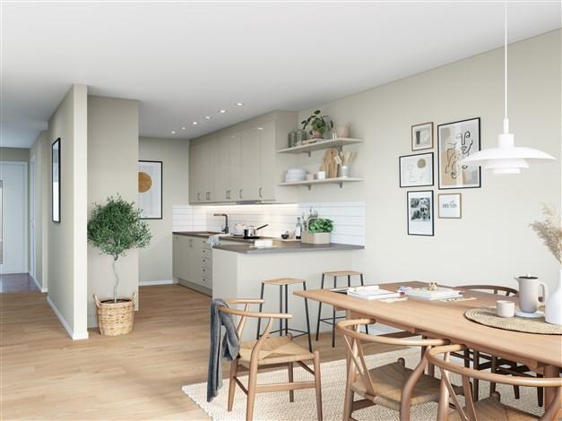 Kök (Observera att bilderna illustrerar ett annat liknande projekt, avvikelser kan förekomma i planlösning utrustning och färg.)