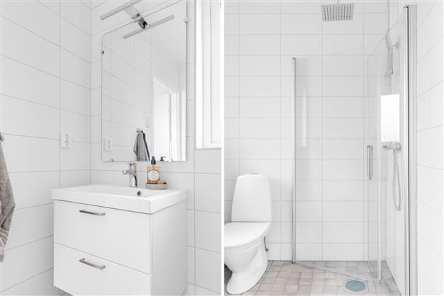 Badrum bv (Observera att bilderna illustrerar ett annat liknande projekt, avvikelser kan förekomma i planlösning utrustning och färg.)