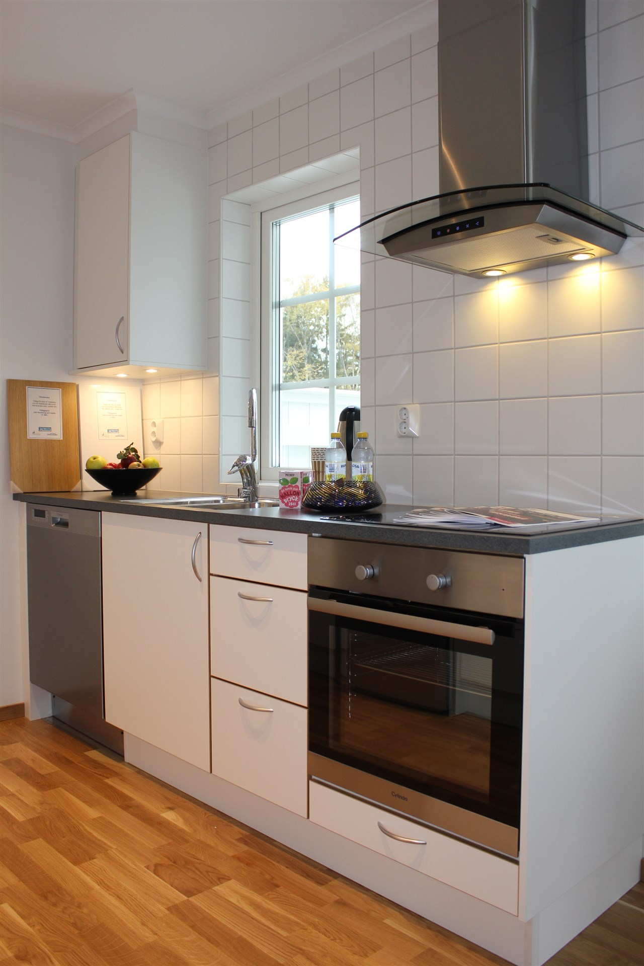 Kök med diskbänk intill fönster